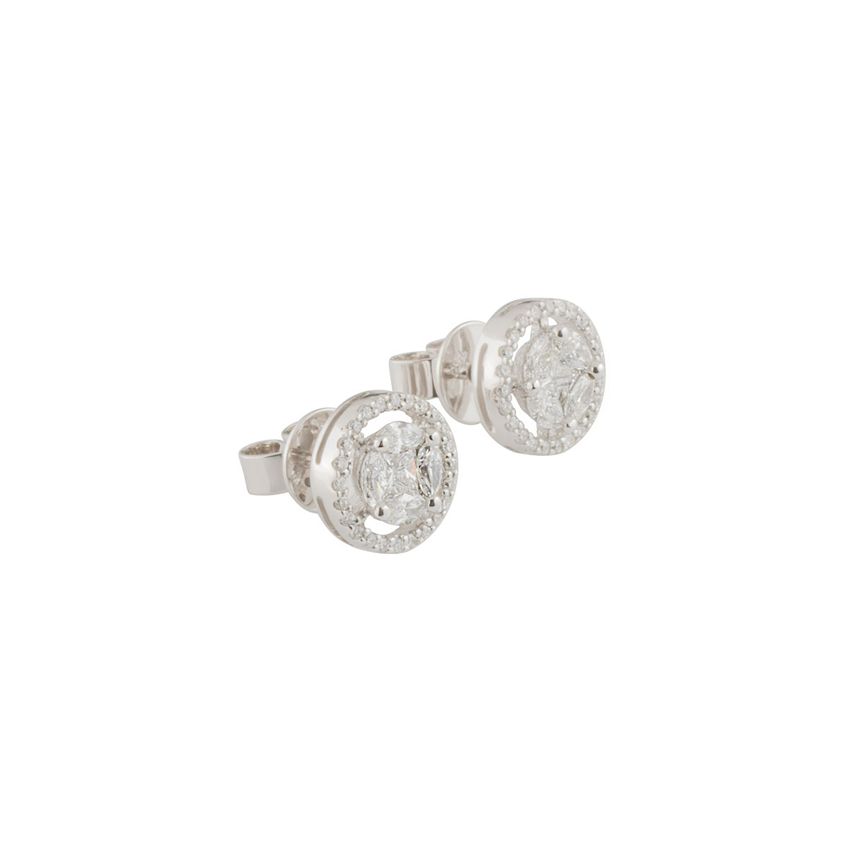White Gold Diamond Cluster Earrings 0.80ct G-H/VS-VVS